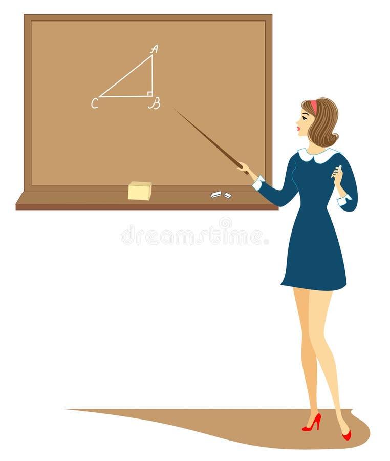 Colegiala joven en clase La muchacha se está colocando cerca de la pizarra y está diciendo la asignación La se?ora es muy bonita  libre illustration
