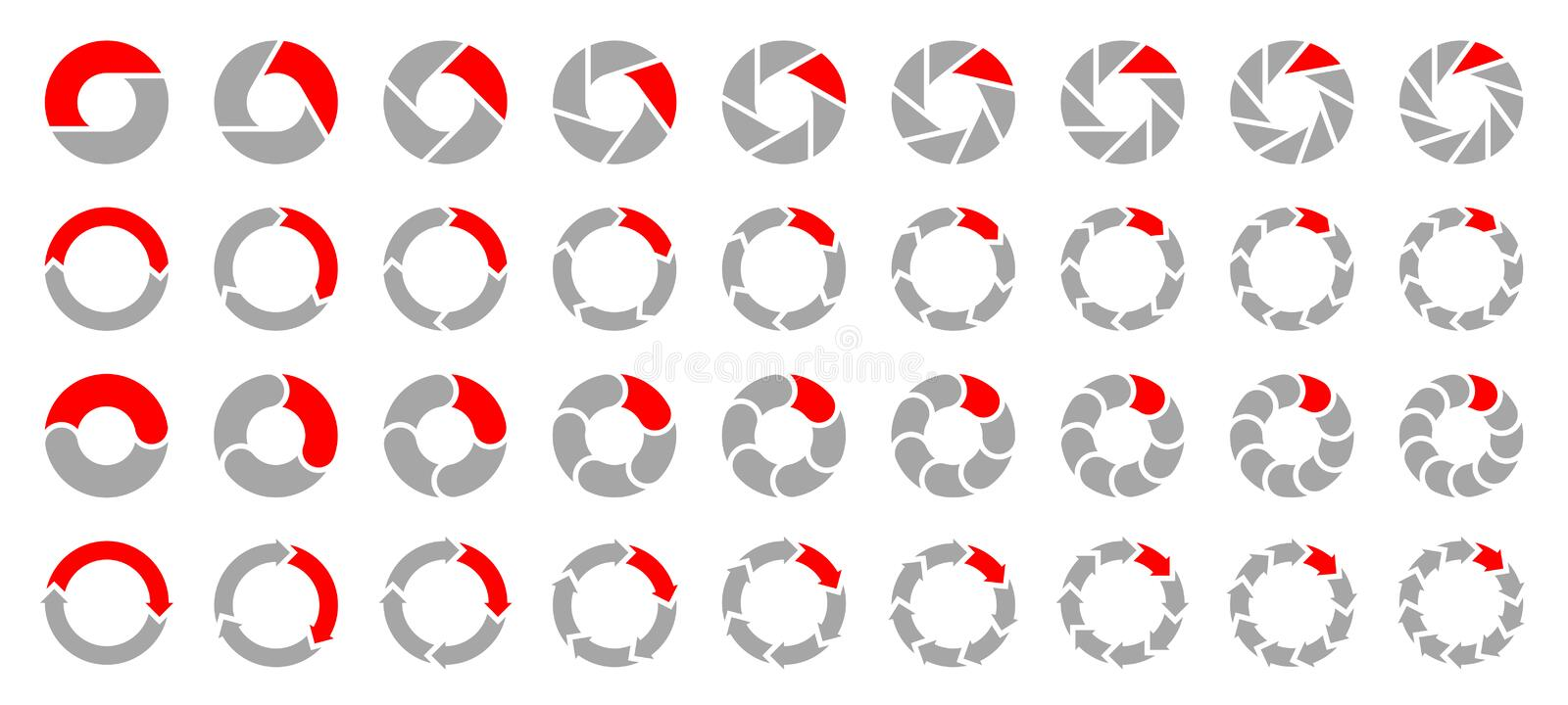 Set Of Different Pie Charts Arrows Gray And Red vector illustration