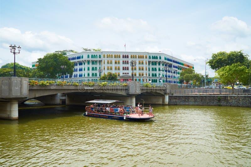 Coleman Bridge sul fiume di Singapore fotografia stock libera da diritti