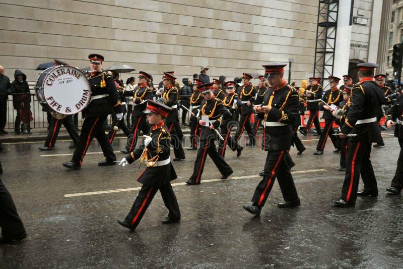 Coleraine Fife and Drum est un ensemble musical composé de cinémas et de tambours photo stock