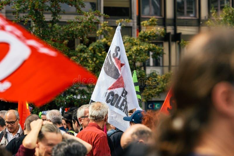 Colere Strasbourg d'en de Strabourg fâché contre le drapeau de protestation photo libre de droits