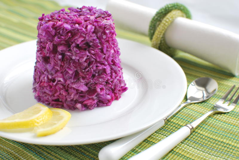 Coleslaw with red cabbage royalty free stock photo
