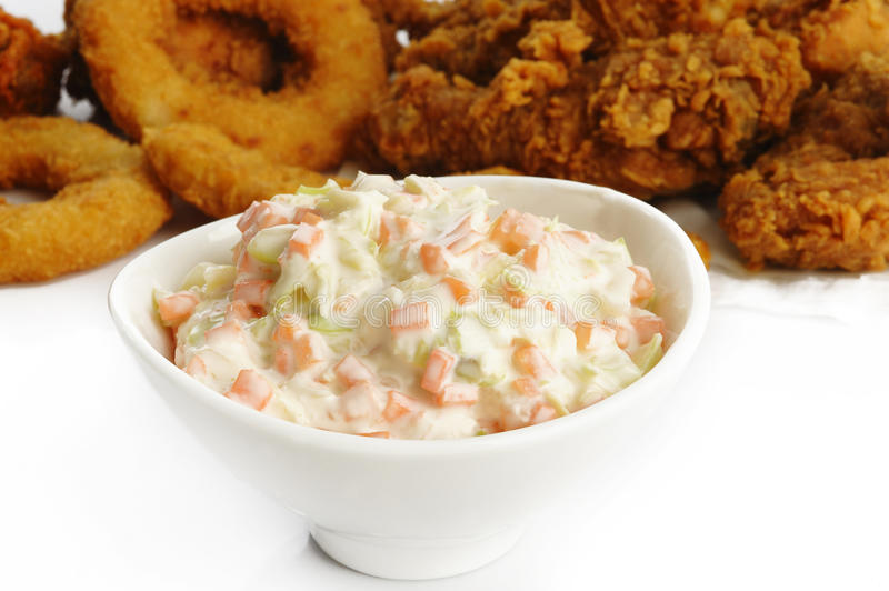 Coleslaw salad in bowl stock photography