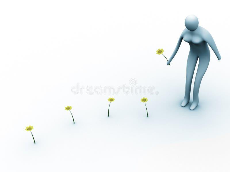 Download Coletando flores ilustração stock. Ilustração de mulher - 102643