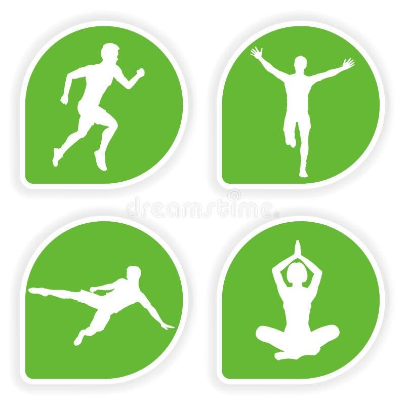 Colete a etiqueta com silhuetas do esporte ilustração stock