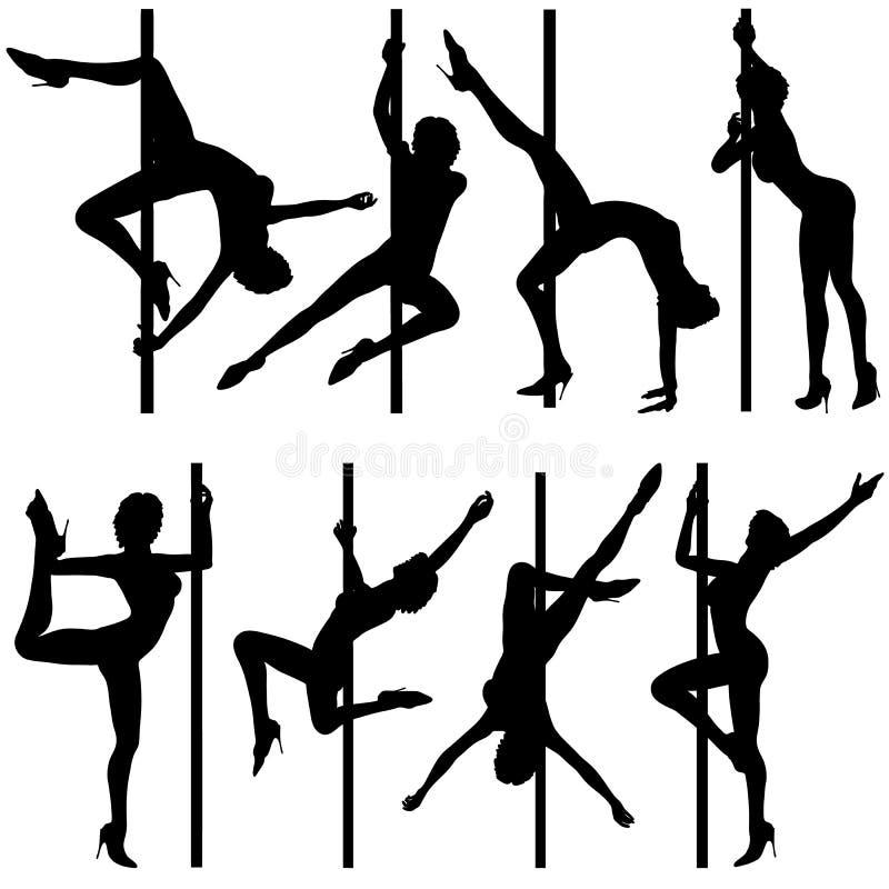 Colete silhuetas da dança ilustração stock