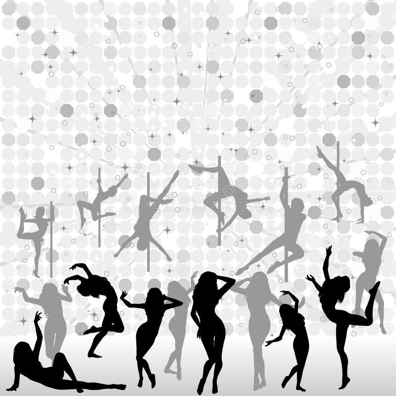 Colete silhuetas da dança ilustração royalty free