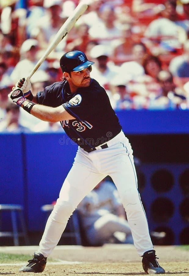 Coletor de Mike Piazza New York Mets fotografia de stock royalty free