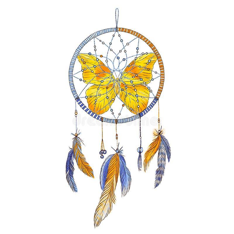 Coletor ideal com penas e borboleta isolada no fundo branco Ilustração desenhada mão Estilo de Boho ilustração do vetor