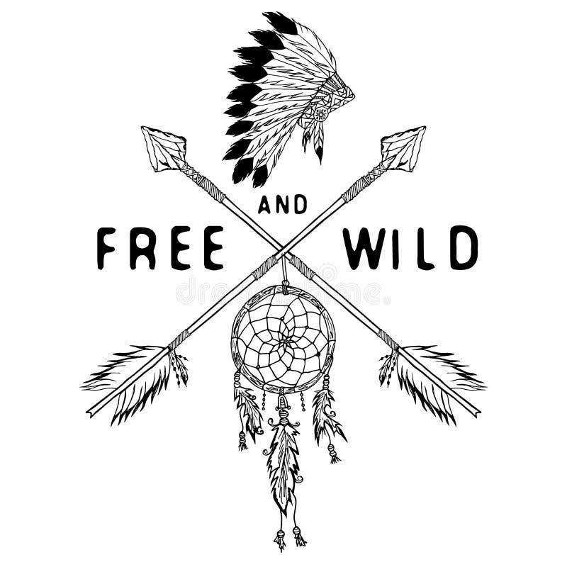 Coletor ideal e setas cruzadas, legenda tribal no estilo indiano com dreamcatcher tradicional da mantilha com penas de pássaro e  ilustração royalty free