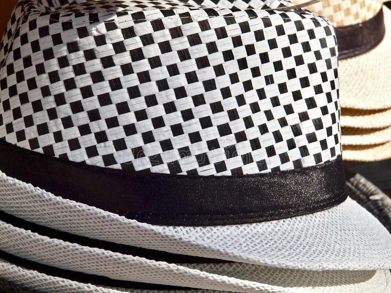 Coleup of a black and white checkered hat royalty free stock images