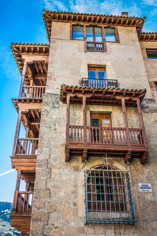 Colgadas das casas (casas de suspensão) em Cuenca em Castille La Mancha, fotografia de stock royalty free