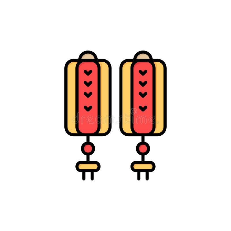 Colgante, China, chino, icono plano del color de la decoración Plantilla de la bandera del icono del vector libre illustration