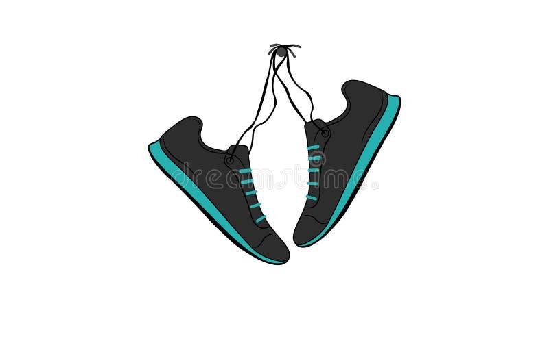 Colgante de los zapatos de los deportes stock de ilustración