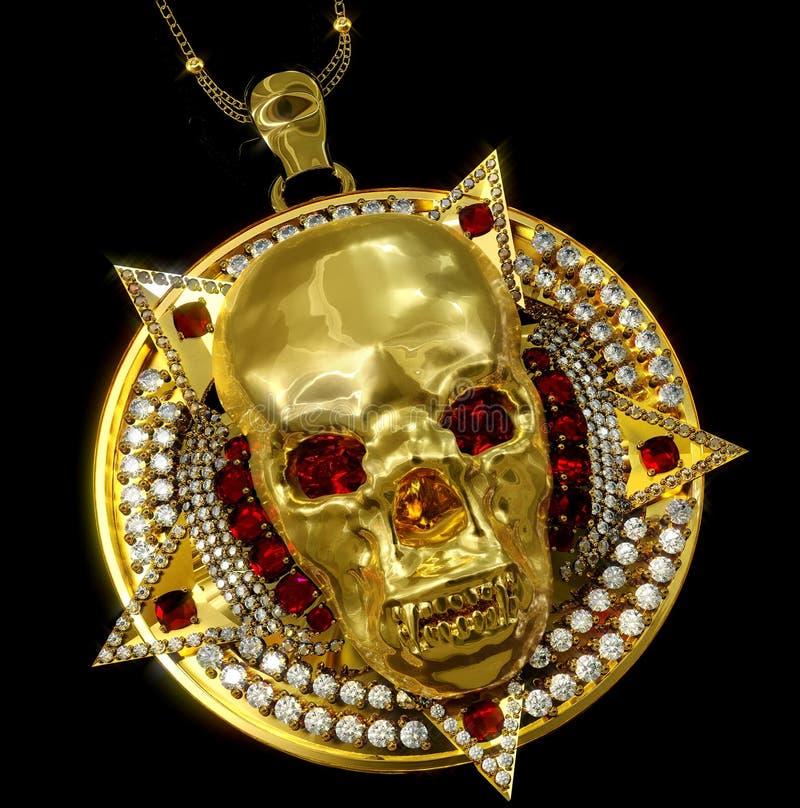Colgante del cráneo del oro de la joyería con el diamante del pentagram de la estrella imagen de archivo