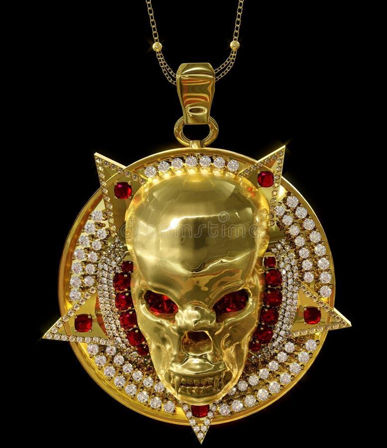 Colgante del cráneo del oro de la joyería con el diamante del pentagram de la estrella fotos de archivo libres de regalías