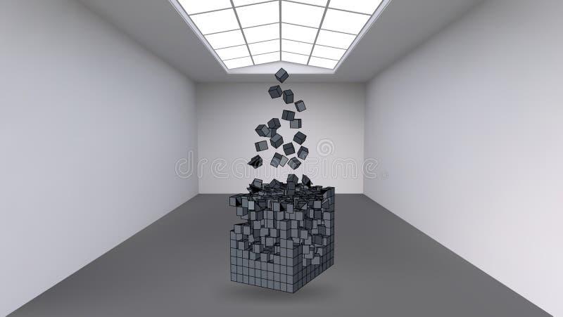 Colgante del cubo de una multitud de pequeños polígonos en el cuarto vacío grande Espacio de la exposición con formas cúbicas abs ilustración del vector