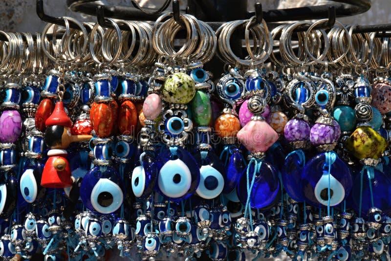 Colgantes azules con de ojo mágico fotografía de archivo