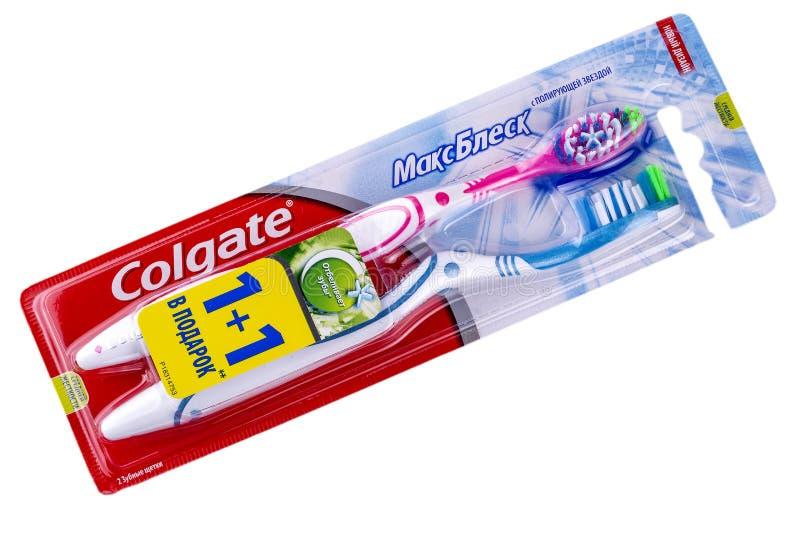 Colgate oralny muśnięcie na bielu zdjęcie royalty free