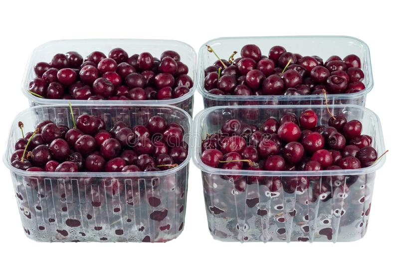 Colha cerejas doces vermelhas em uns recipientes pl?sticos transparentes imagem de stock