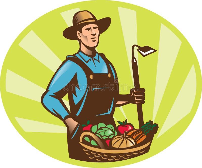 Colheita da colheita da cesta do Hoe do jardim do fazendeiro ilustração stock