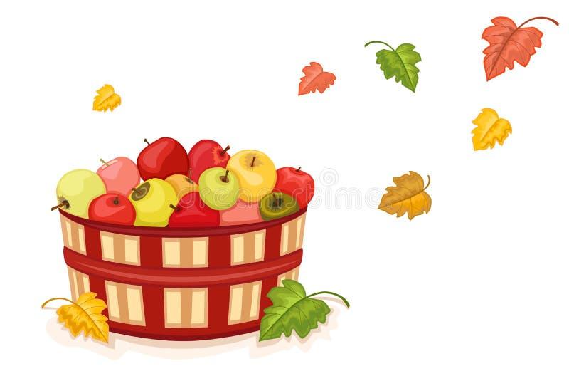 Colheita do outono com as maçãs na cesta ilustração stock