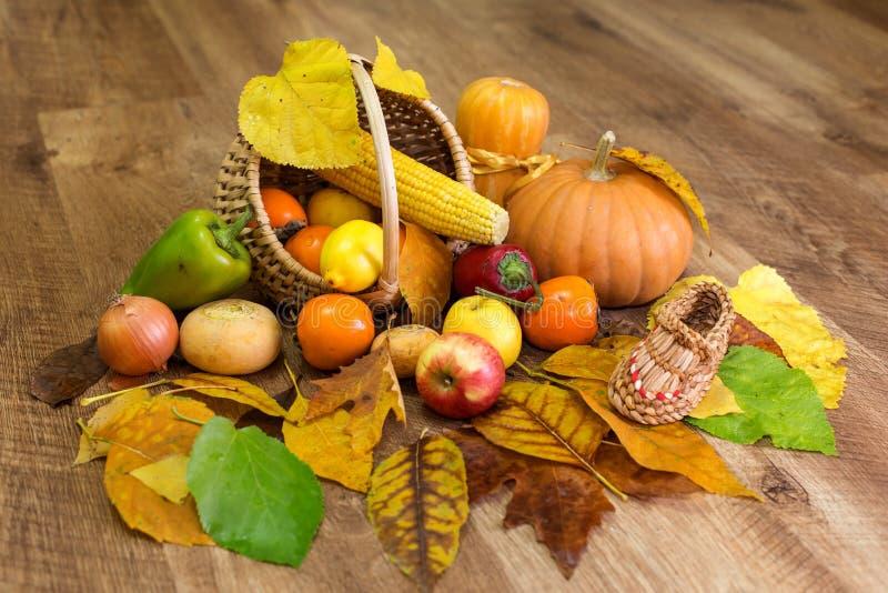 Colheita do outono no fundo de madeira imagem de stock