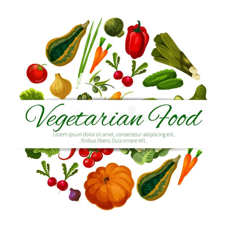 Colheita dos vegetais do vetor do cartaz do alimento do vegetariano ilustração do vetor