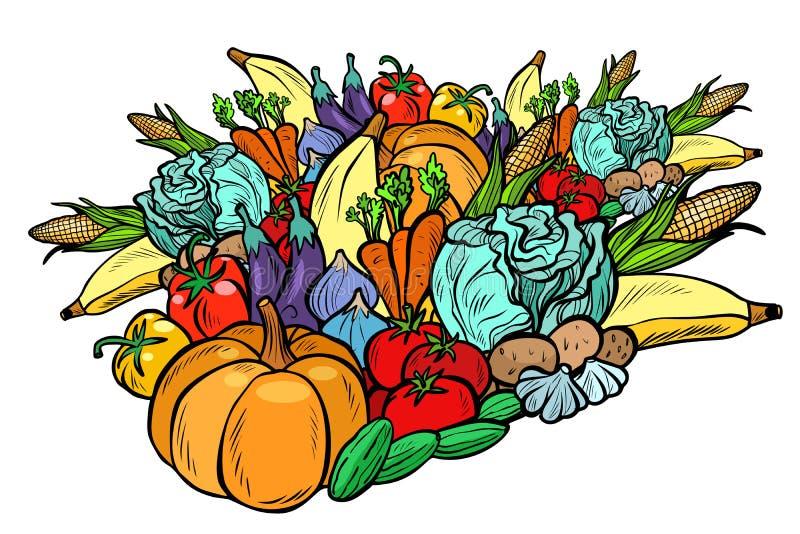Colheita grande do outono, vegetais do vegetariano Produtos agrícolas Isolat ilustração do vetor