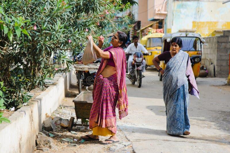 A colheita indiana velha da mulher floresce cidade índia rua no 11 de fevereiro de 2018 Puttaparthi, Índia fotografia de stock royalty free