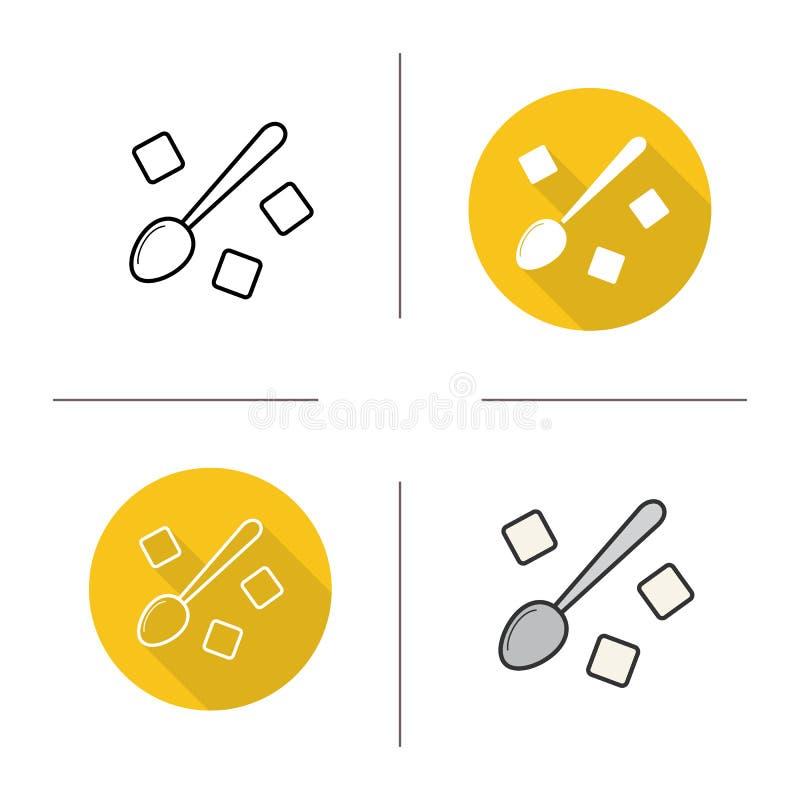 A colher com açúcar refinado cuba o ícone ilustração do vetor