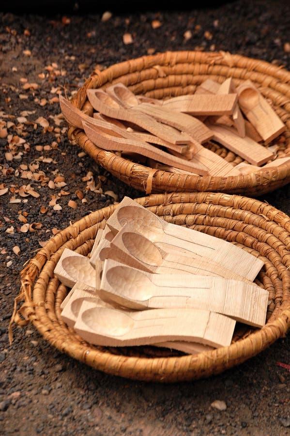 Colher de madeira fotos de stock