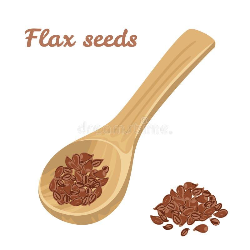 Colher de madeira com as sementes de linho isoladas no fundo branco ilustração stock