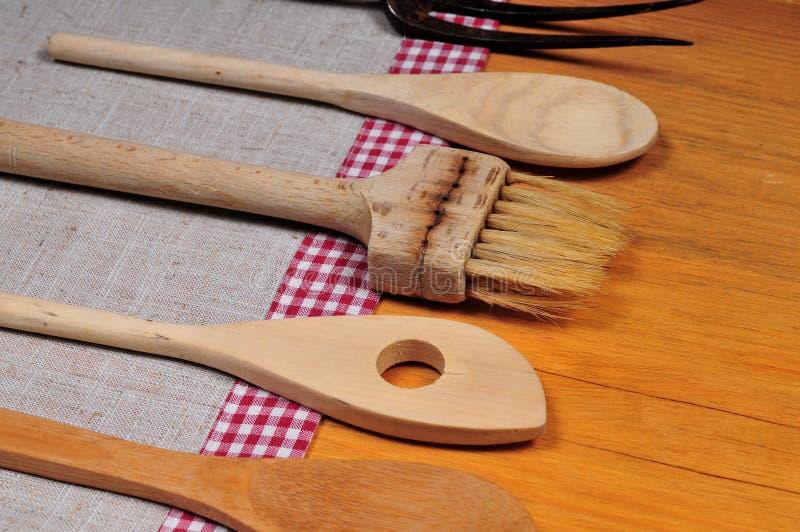 Colher de madeira fotografia de stock