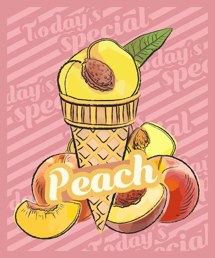 Colher do gelado de pêssego no cone Ilustra??o do esbo?o do vetor Ideia do gelado do fruto, conceito ilustração royalty free