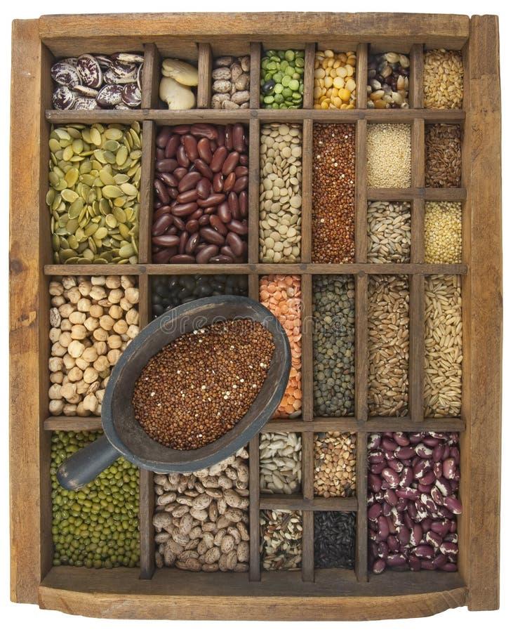 Colher do Quinoa e variedade de feijões, grão, sementes imagens de stock
