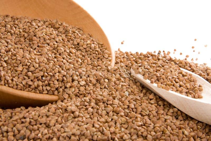 Colher do trigo mourisco e da madeira isolada no branco imagem de stock royalty free