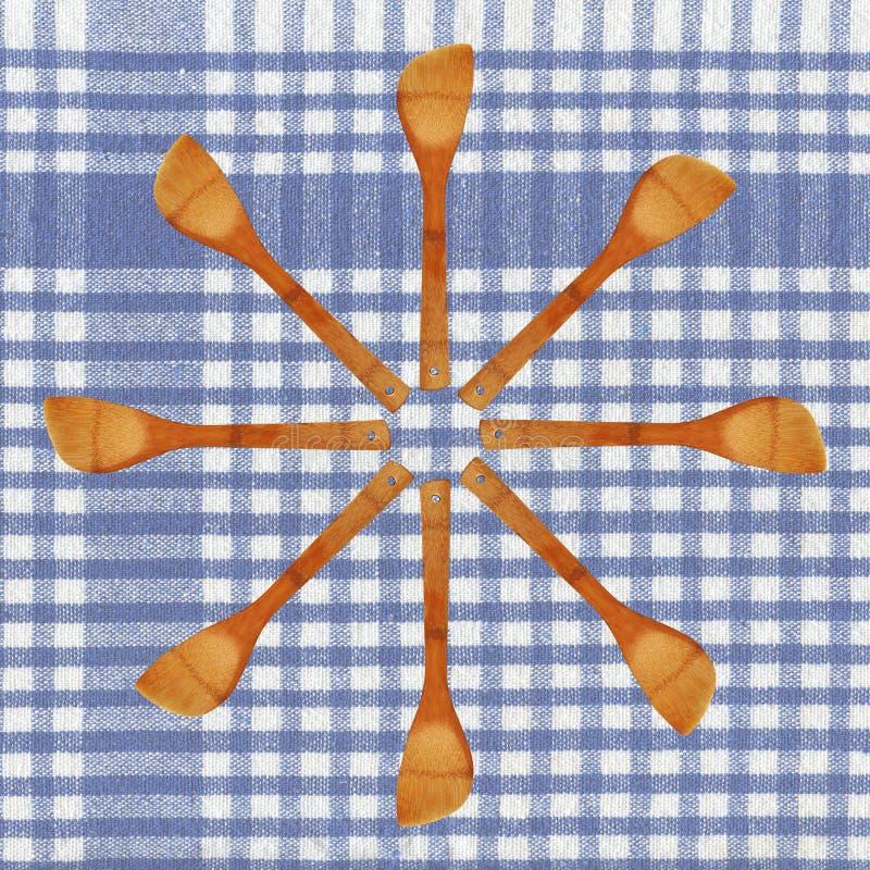 Colher E Tablecloth De Madeira Imagem de Stock Royalty Free