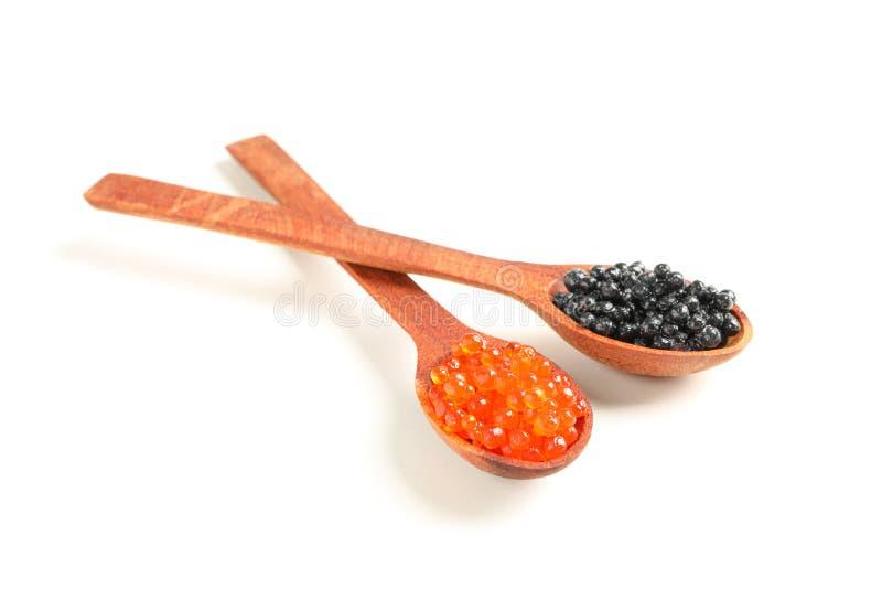 Colheres com caviar foto de stock royalty free
