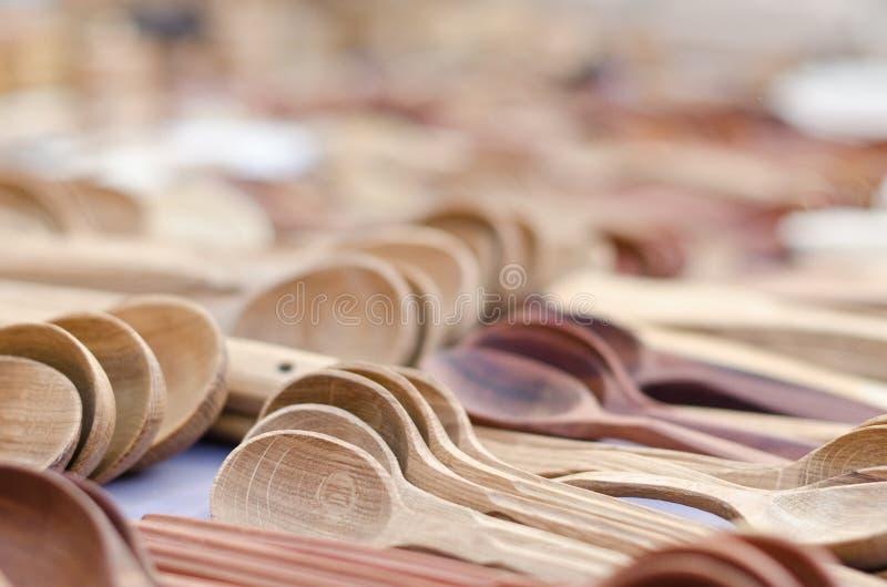 Colheres de madeira imagens de stock