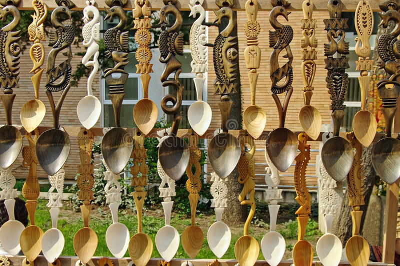 Colheres de madeira fotografia de stock royalty free