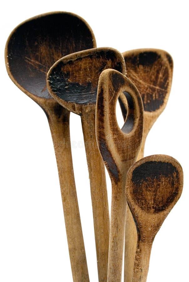 Colheres de madeira do vintage imagens de stock royalty free
