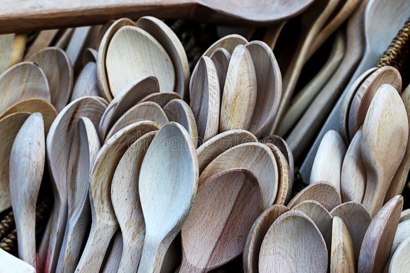 Colheres de madeira tradicionais fotos de stock royalty free