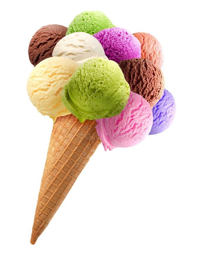Colheres do gelado com cone fotos de stock royalty free