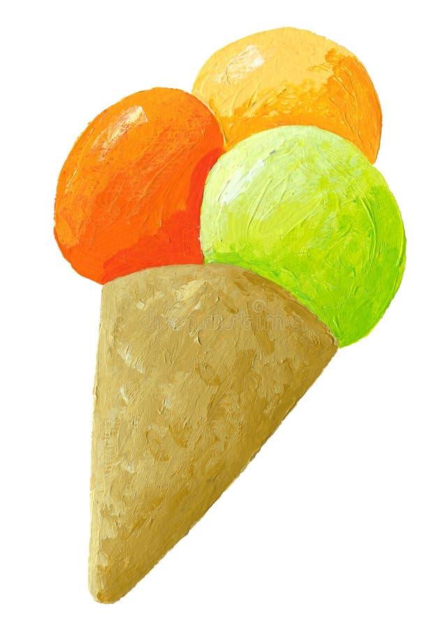 Colheres do gelado no cone ilustração do vetor
