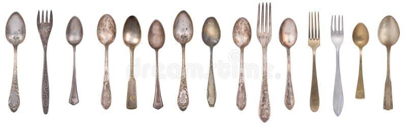 Colheres, forquilhas e faca do vintage da cole??o isoladas em um fundo branco Pratas retro imagem de stock