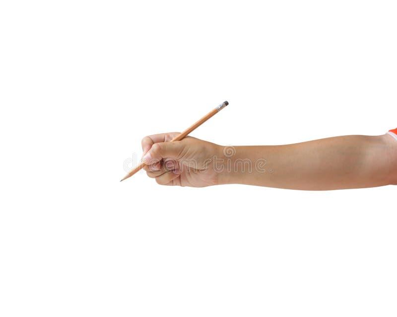 Colhido da mão da mulher que mantém o lápis marrom isolado no fundo branco imagens de stock