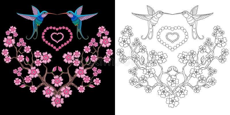 Colibrì del ricamo e progettazione di sakura illustrazione di stock