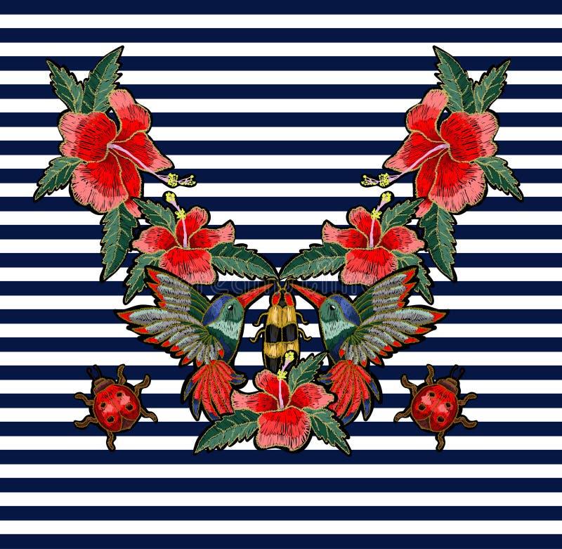 Colibrì del ricamo, fiori dell'ibisco, farfalla e coccinella illustrazione di stock