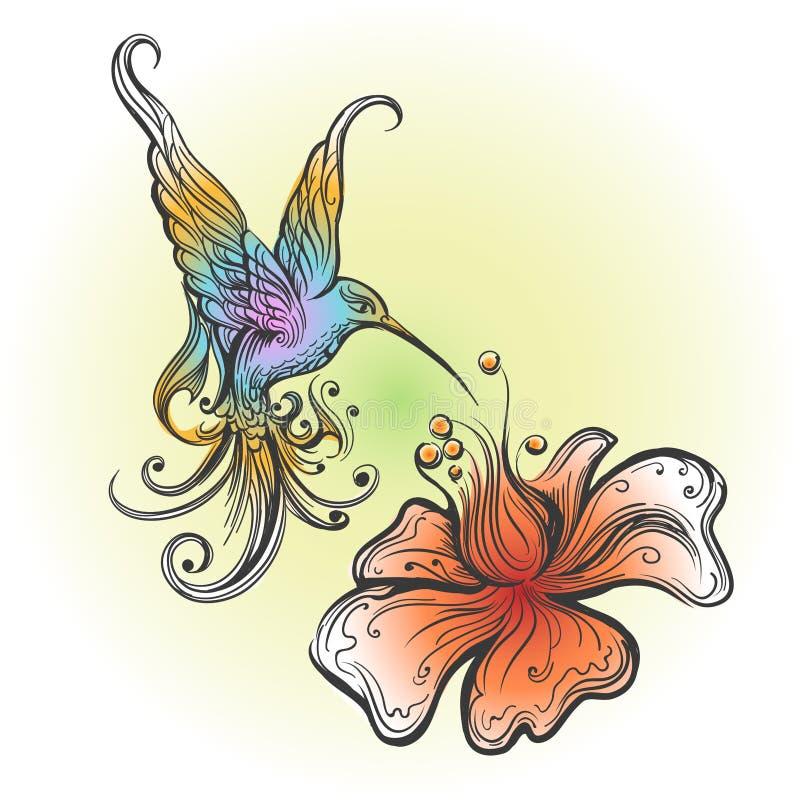 Colibrì di volo nello stile del tatuaggio illustrazione vettoriale